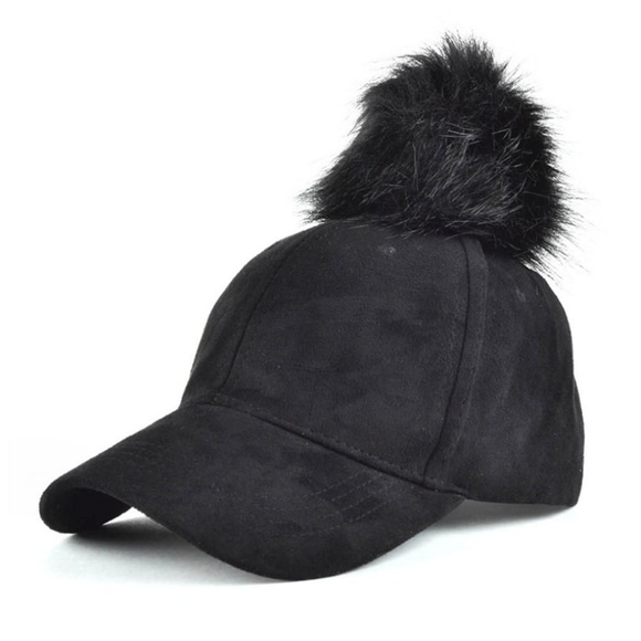 44a8afb81 2 Left!🖤3/$15 Black Suede Fuzzball Hat Boutique